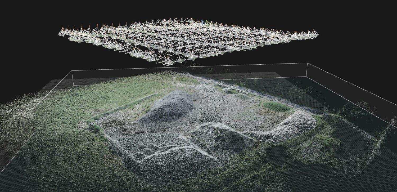 Ce tas de gravats a été capturé en 3D par photogrammétrie. Un drone a photographié la zone en suivant un plan de vol automatique. La multiplicité des points de vue permet de déduire les volumes. Image BTP.digital.