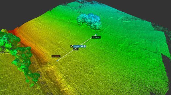 Nuage de points colorisé en élévation, obtenu par photogrammétrie aérienne par drone.