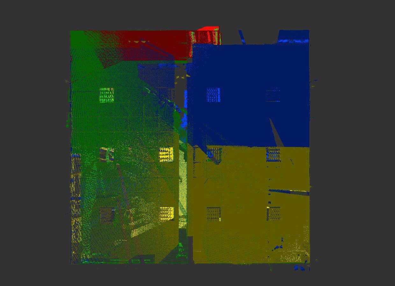 Plusieurs scans assemblés : la densité de points augmente dans les zones communes