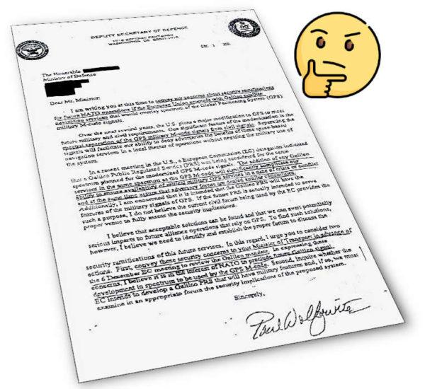 Lettre du secrétaire adjoint à la Défense des États-Unis Paul Wolfowitz aux ministres des États membre de l'Union européenne en décembre 2001, en appelant à l'abandon du projet Galileo GNSS