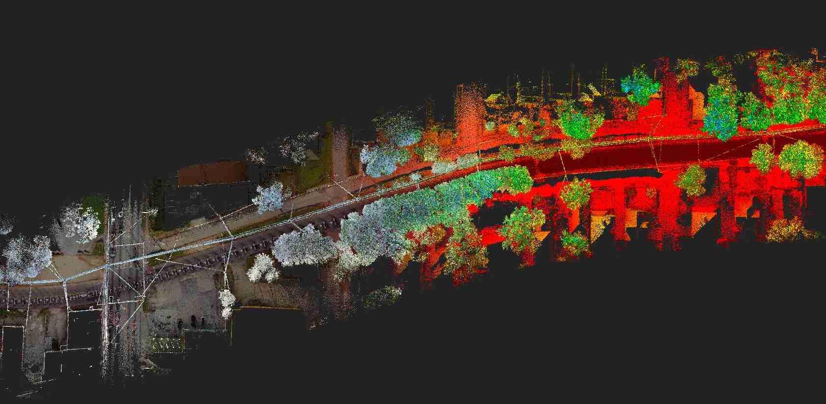 Numérisation laser 3D d'une route par LiDAR mobile installé sur un véhicule