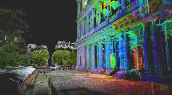 Image composite d'un nuage de point en couleurs RGB et en réflectance.