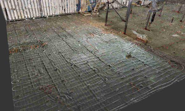 Le relevé 3D par Matterport d'un plancher chauffant.