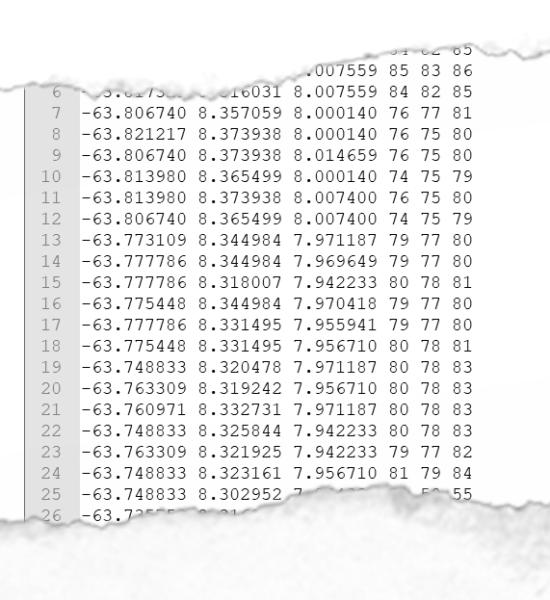 Contenu d'un fichier XYZ de nuage de points