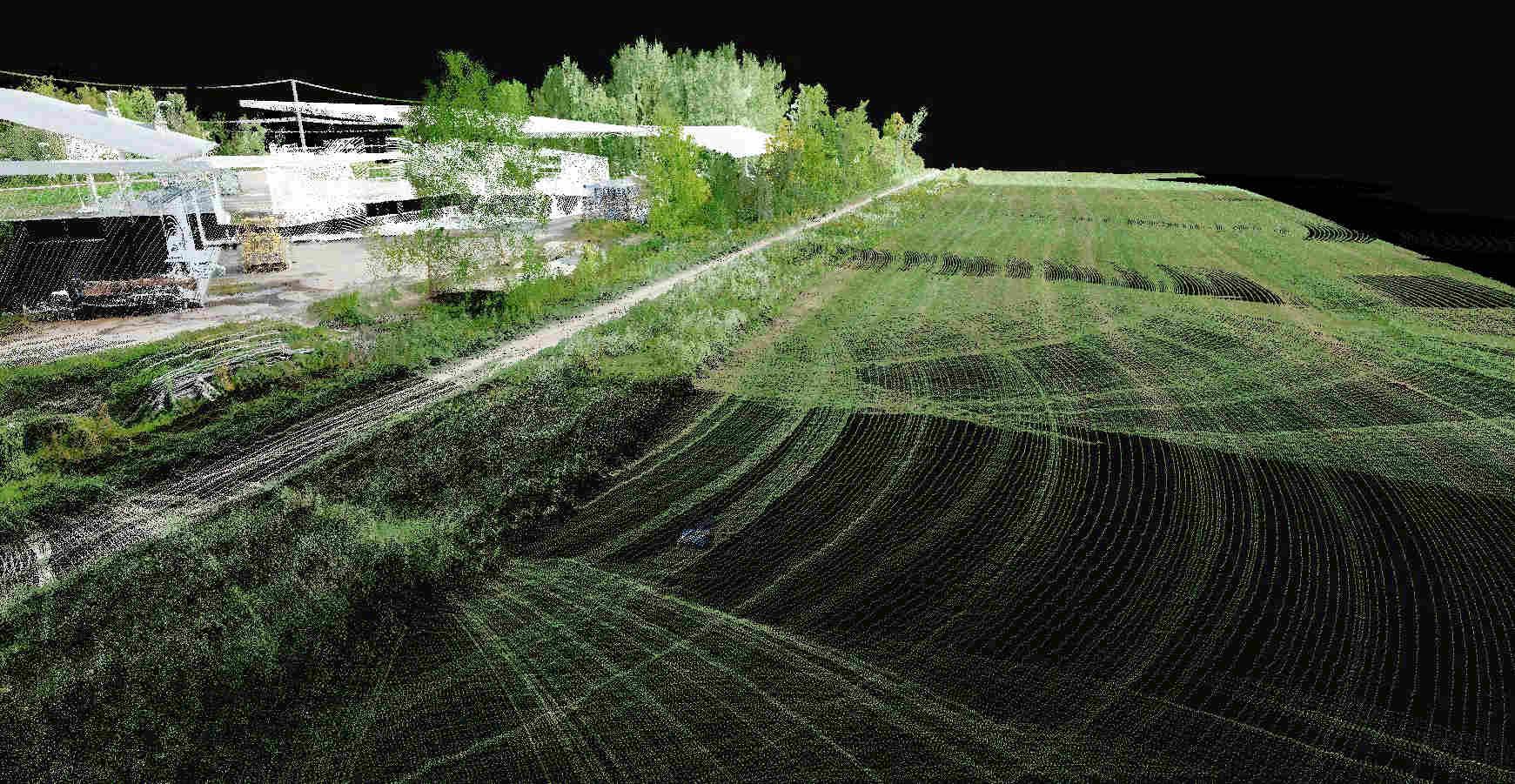Nuage de points obtenu avec un LiDAR sous drone