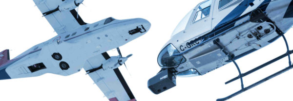 Un avion et un hélicoptère équipés de capteurs LiDAR et photo