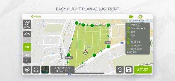Etablissement d'un plan de vol via l'application Pix4D pour smartphone