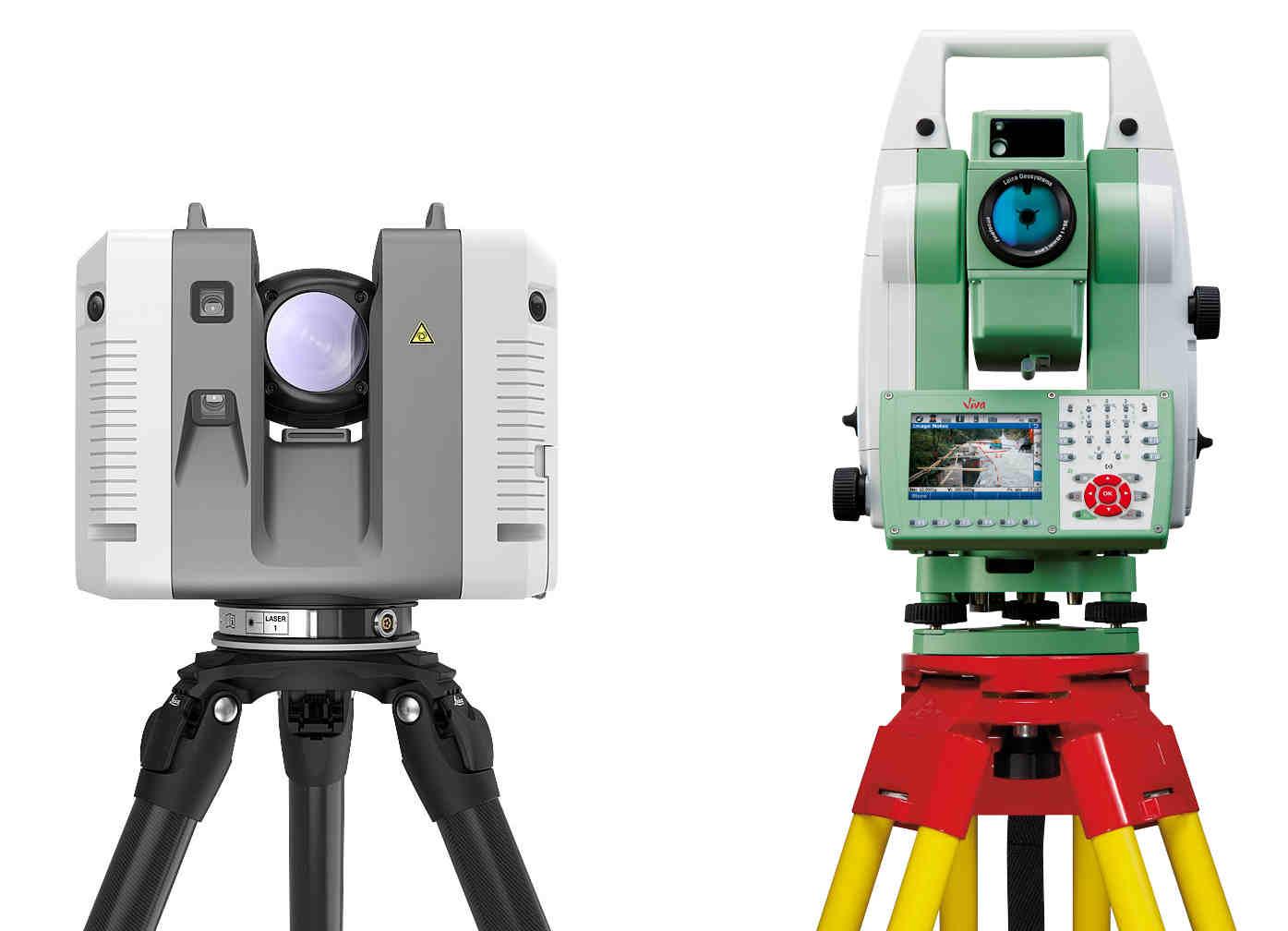 Comparaison entre une station totale (droite) et un scanner laser 3D (gauche, Leica RTC360)