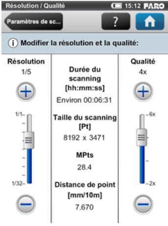 Interface de réglage de la qualité d'un scan - Faro Focus