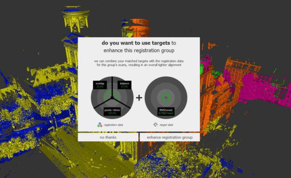 Indicateurs de qualité de l'assemblage d'un nuage de points, évalués par le logiciel Autodesk Recap Pro