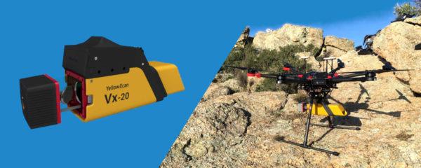 Un LiDAR YellowScan VX-20 sous un drone DJI Matrice 600